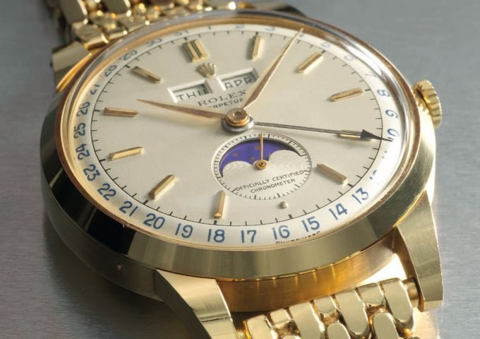 rolex 18k gold automatic moonphase christie's luxury-1