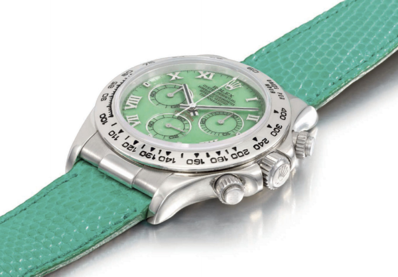rolex daytona 2001 chrysophrase christie's auction lot44