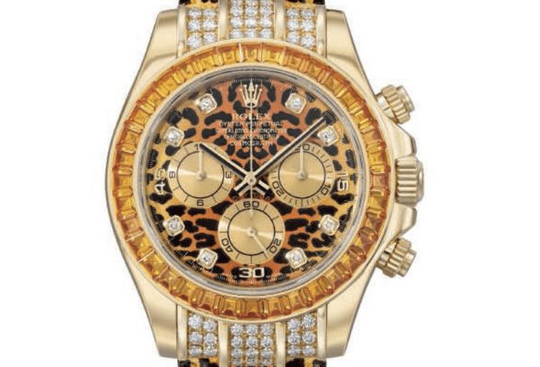 rolex daytona 2005 leopard yellow sapphire diamond gold