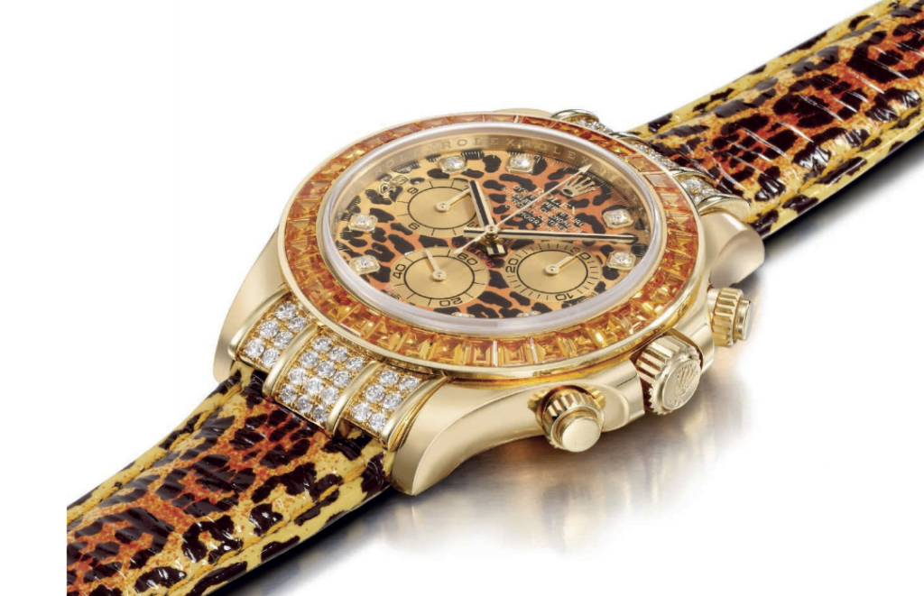 rolex daytona leopard yellow sapphire diamond gold
