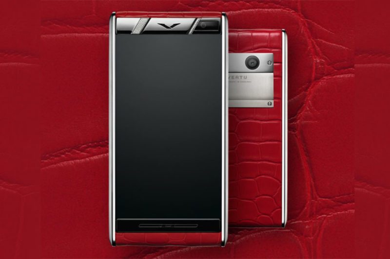 Red vertu phone with diamonds luxury Vertu 2015