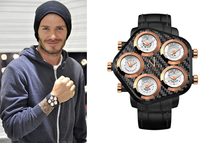 Celebrity style beckham 39 s watch in black and rose gold for Celebrity sextortion watch