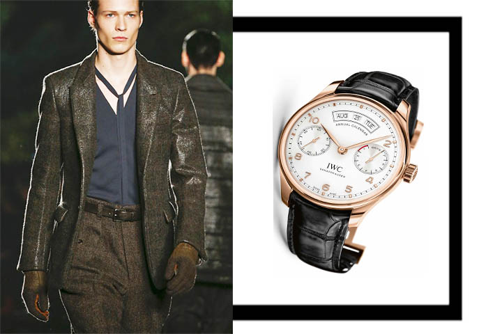 zegna-brown-leather-iwc-gold-portuguese-watch