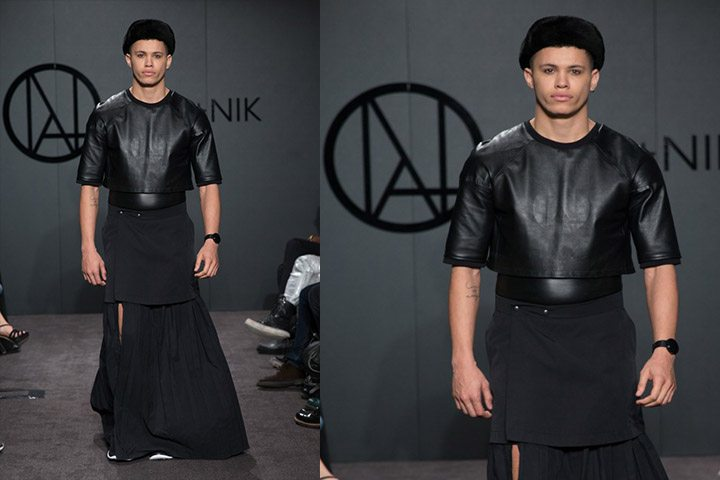 Ada-nik-black leather shirt-men
