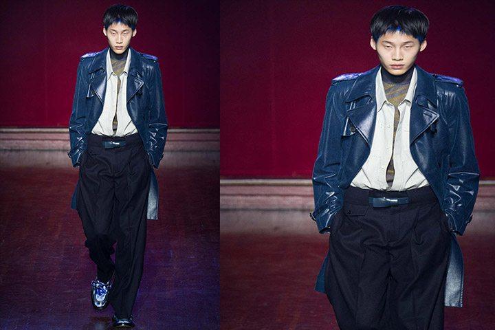 maison margiela leather blue jacket men-price