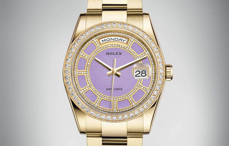 lavender purple rolex dial diamonds 2016 date watch