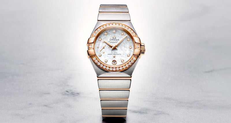 omega ladies watch white diamonds gold