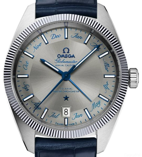 omega watch price steel blue strap