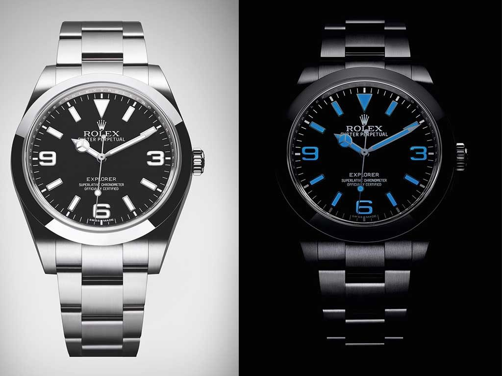 rolex explorer new blue light blu enumbers