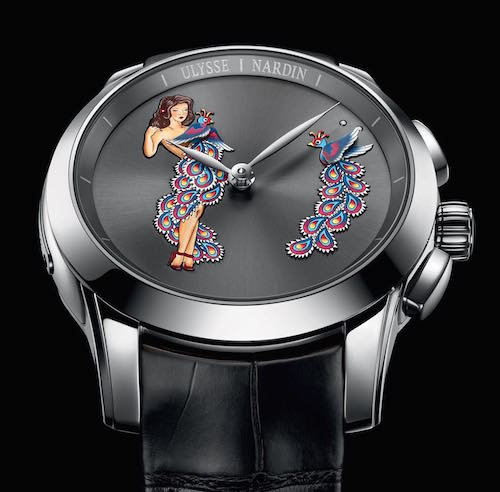 Ulysse Nardin Hourstriker Pin-Up girl on watch dial