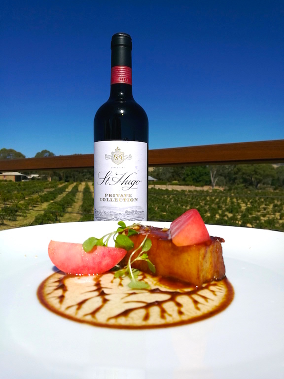 2012 Private collection Rowland Flat Shiraz with Oyster Glazed Pork, salted stone fruit, miso and cocoa.