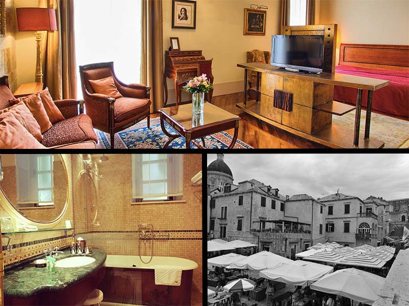 Inside the luxury room of the only 5 star hotel in Dubrovnik Old town. A view from the room includes the stairs from where Cersi started her Walk of Atonement, seen in extreme right of the b/w image