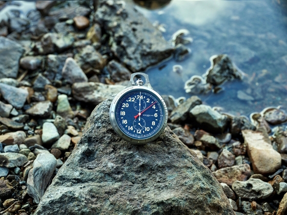 Montblanc blue Pocket Watch that can double up as a wrist watch on a expedition.
