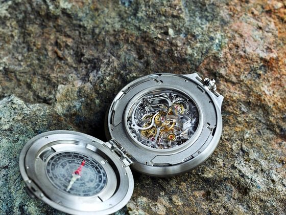 Montblanc limited edition pocket watch Superluminova also highlights the four cardinal engraved points on the compass.